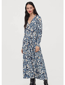 Fashion Blooming V-neck Long-sleeved Print Dress