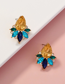 Fashion Leaves Geometric Earrings With Diamond Drops And Leaves