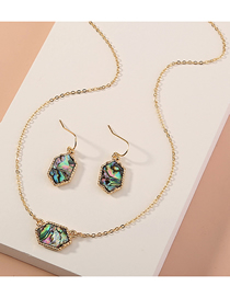Fashion Golden Natural Abalone Shell Geometric Necklace Earrings Set