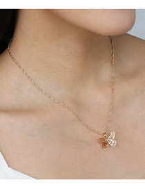 Fashion Golden Diamond Butterfly Alloy Hollow Necklace