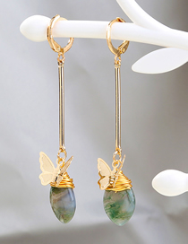Fashion Golden Handmade Long Metal Butterfly Natural Agate Stone Earrings