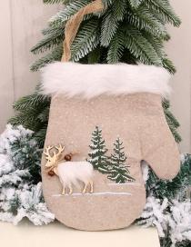 Fashion Gloves Linen Machine Embroidered Christmas Socks Gloves Socks