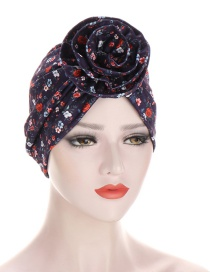 Fashion Navy Cashew Print Forehead Flower Cap