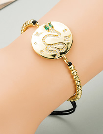 Fashion Golden Braided Zircon 4mm Copper Beads Snake-shaped Gold-plated Bracelet
