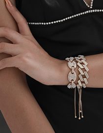 Fashion Golden Alloy Micro-inlaid Rhinestone Chain Double Layer Bracelet