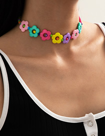 Fashion White K Rice Bead Hollow Flower Acrylic Necklace