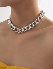 Fashion White K Tassel Aluminum Chain Thick Chain Hollow Necklace