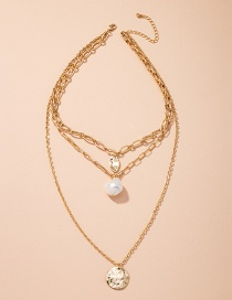 Fashion Golden Thick Chain Multilayer Pearl Alloy Necklace
