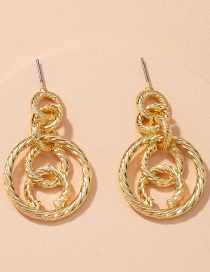 Fashion Golden Round Alloy Chain Hollow Earrings
