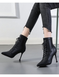 Fashion Black Pointed Toe High Stiletto Lace-up Stretch Martin Boots