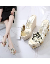 Fashion Gold Color Wedge Heel Thick-soled Hemp Rope Woven Flower Sequin Slippers