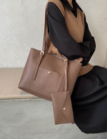 Fashion Coffee Color Stitching Solid Color Large Capacity Single Shoulder Handbag