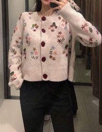 Fashion Beige Embroidered Flowers Sweater Knitted Jacket