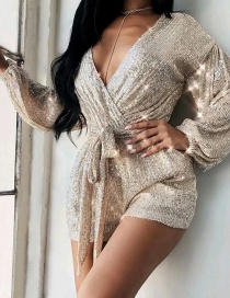 Fashion Silver Color Sequin Lace Deep V Long Sleeve Dress