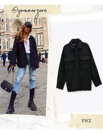 Fashion Black Textured Houndstooth Single-breasted Coat