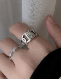 Fashion Silver Color Wide Version Chain Letter Metal Hollow Adjustable Ring
