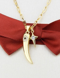 Fashion Gilded Gold-plated Faux Teeth Diamond Star Pendant Necklace