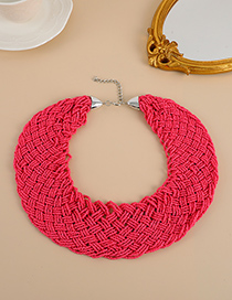 Fashion Watermelon Red Resin Beaded Woven Necklace