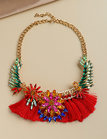 Fashion Red Alloy Diamond Drop Flower Tassel Necklace