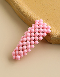 Fashion Pink Alloy Resin Beads Triangle Hairpin