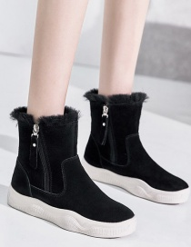 Fashion Black High-top Mid-heel Flat And Velvet Round-toe Snow Boots