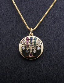 Fashion Palm Box Chain Gold Micro-inlaid Zircon Palm Round Gold-plated Copper Necklace