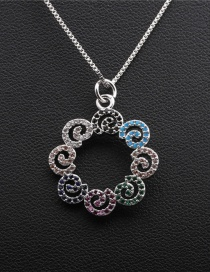 Fashion Box Chain White Gold Micro-inlaid Zircon Geometric Gold-plated Copper Hollow Necklace