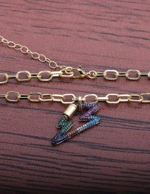 Fashion 50mm Chain + Lightning Lightning Copper-plated Copper Necklace