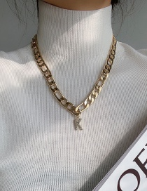 Fashion Letter K Thick Chain Full Of Diamond Letters Alloy Necklace