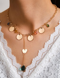 Fashion Gold Color Diamond Heart Circle Alloy Necklace