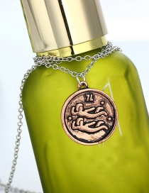 Fashion Rose Gold Round Embossed Coin Alloy Necklace