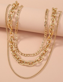 Fashion Golden Thick Chain Alloy Hollow Multilayer Necklace