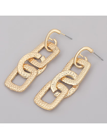 Fashion Gold Color Square Oval Geometric Alloy Earrings