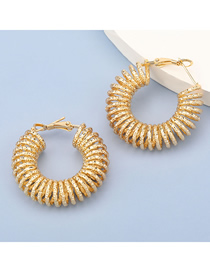 Fashion Gold Color Thread Spring Circle Alloy Earrings