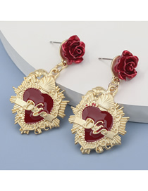 Fashion Red Alloy Rose Resin Drip Oil Letter Earrings