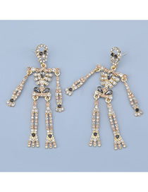Fashion Gold Color Skull Skeleton Alloy Diamond Earrings