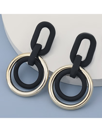 Fashion Black Round Resin Geometric Earrings