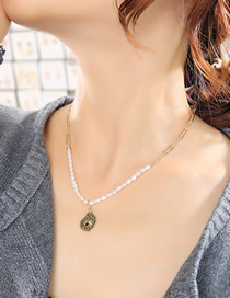 Fashion Gold Color Geometric Eye Pearl Alloy Necklace