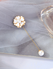 Fashion White Drip-glazed Pearl Flower Alloy Brooch