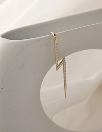 Fashion Lightning Style (single) Micro-inlaid Zircon Pearl Earrings With Diagonal Lines