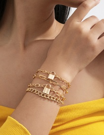Fashion Gold Color Alloy Lock Shape Geometric Alloy Multilayer Bracelet