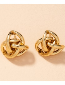 Fashion Gold Color Split Layer Spiral Wound Alloy Earrings