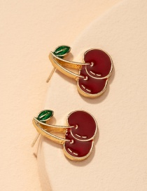 Fashion Small Cherry Silver Color Pin Cherry Drip Oil Alloy Earrings