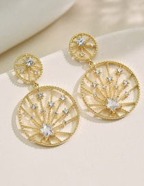 Fashion Earring Round Diamond Five-pointed Star Hollow Earrings