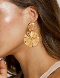 Fashion Gold Color Alloy Round Geometric Hollow Earrings