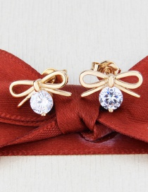 Fashion Gold-plated White Zirconium Bow-knot Round Earrings With Zircon