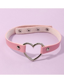 Fashion Pink Pu Leather Love Heart Alloy Hollow Geometric Necklace