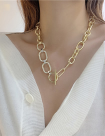 Fashion Gold Color Thick Chain Ring Flashing Diamond Stitching Necklace