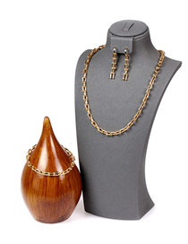 Fashion A Set U-shaped Chain Smooth Thick Chain Copper Plating Necklace Bracelet Earring Set