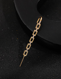 Fashion Thick Chain Clause Pierced Micro-inlaid Zircon Surround Geometric Contour Ear-hook Earrings